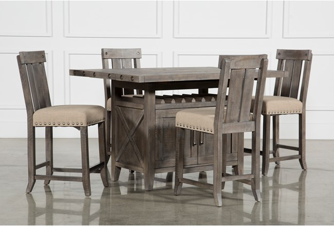 Jaxon Grey 5 Piece Extension Counter Set W Wood Stools