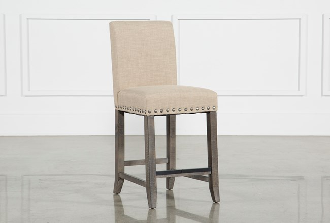 Jaxon Grey Fabric Counterstool - 360