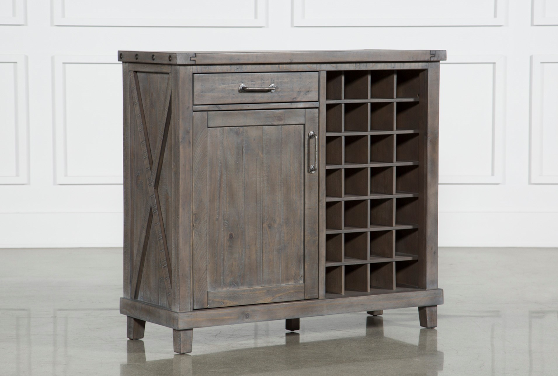 Jaxon Grey Wine Cabinet Living Spaces