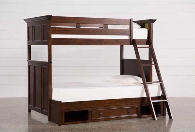 Dalton twin over full bunk bed with drawer base living for Twin bed base with drawers