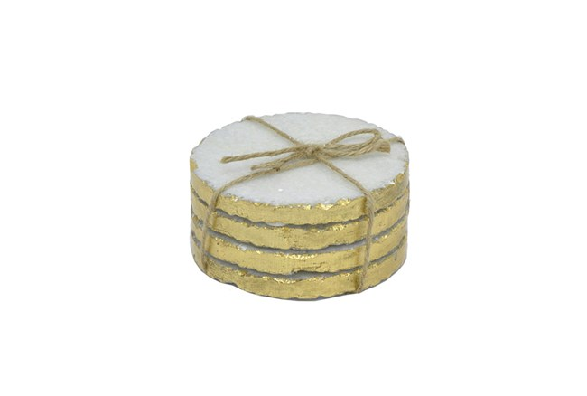4 Piece Set Marble Golden Edges Coaster - 360