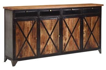 "Mango Wood Iron 4-Door/4-Drawer 80"" Sideboard"