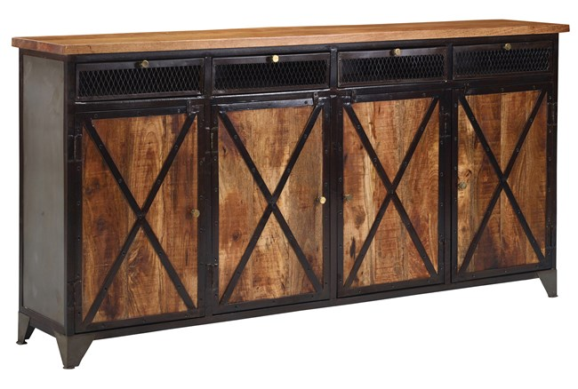 "Mango Wood Iron 4-Door/4-Drawer 80"" Sideboard - 360"