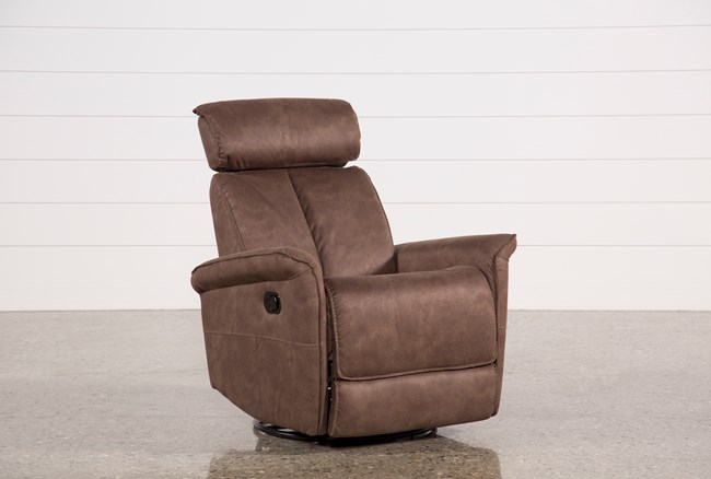 Labaron Brown Swivel Glider Recliner W/ Adjustable Headrest - 360