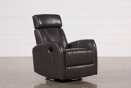 Lyle Grey Leather Swivel Glider Recliner W/ Adjustable Headrest