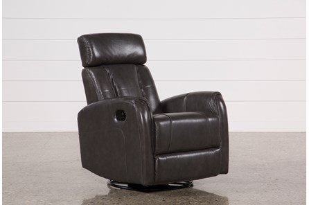 Lyle Grey Leather Swivel Glider Recliner W/ Adjustable Headrest - Main