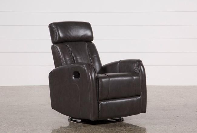 Lyle Grey Leather Swivel Glider Recliner W/ Adjustable Headrest - 360