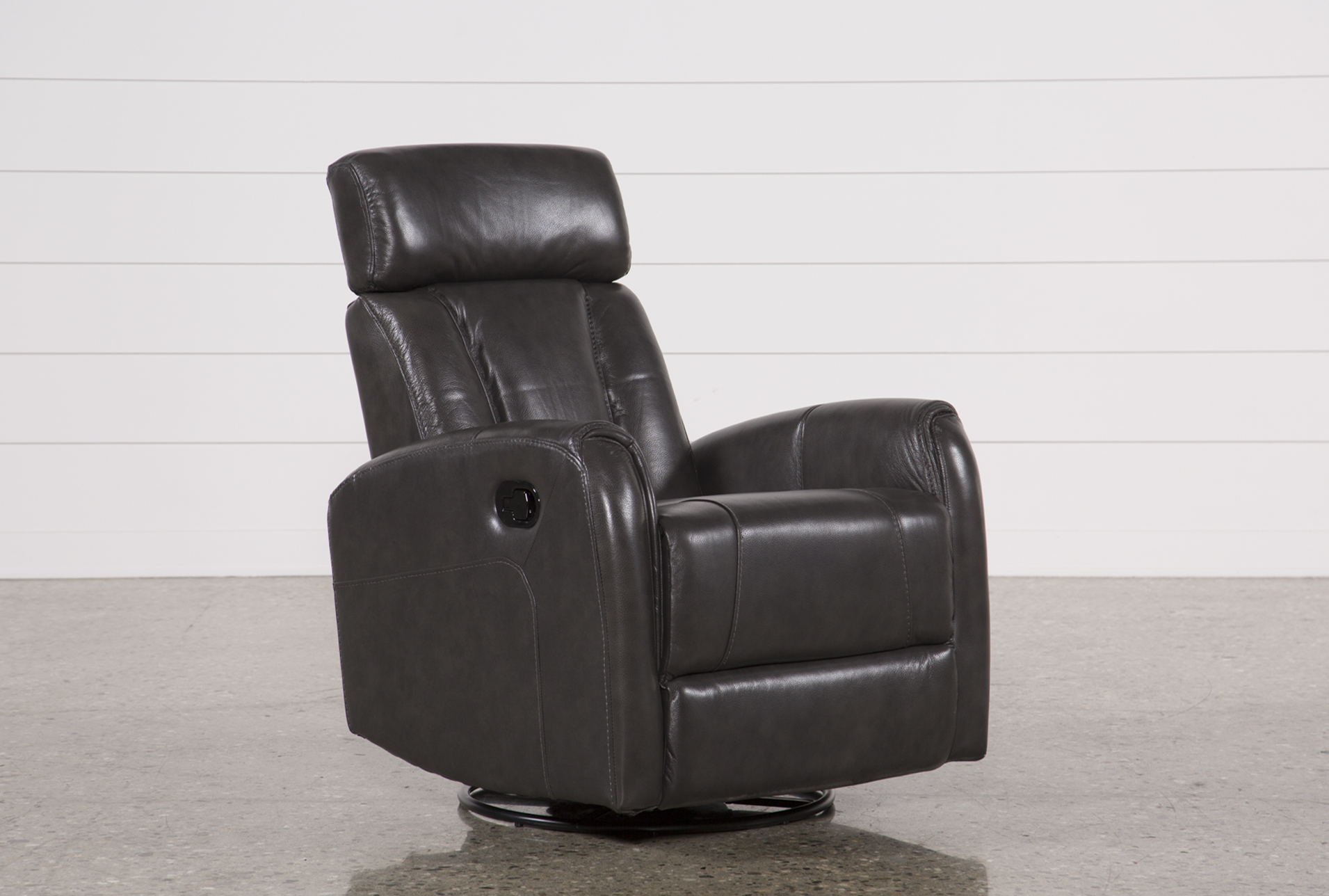 Lyle Grey Leather Swivel Glider Recliner W/ Adjustable Headrest (Qty: 1)  Has Been Successfully Added To Your Cart.