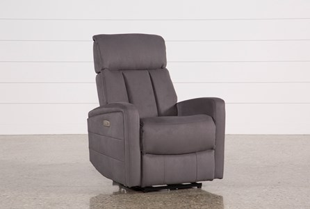 Leena Dark Grey Power Wallaway Recliner W/ Adjustable Headrest