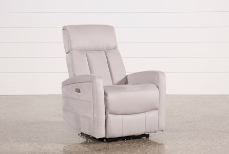 Leena Light Grey Power Wallaway Recliner W/ Adjustable Headrest