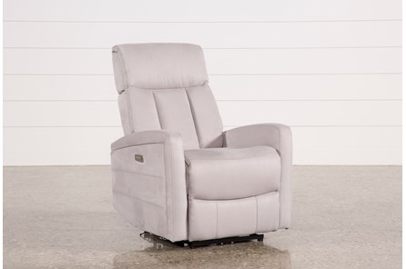 Leena Light Grey Power Wallaway Recliner W/ Adjustable Headrest - Main