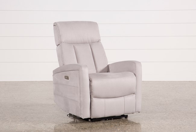 Leena Light Grey Power Wallaway Recliner W/ Adjustable Headrest - 360