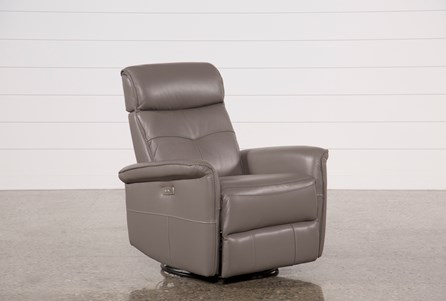 Lacey Grey Leather Power Swivel Glider Recliner W/ Adjustable Headrest