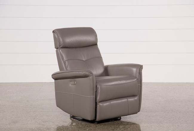 Lacey Grey Leather Power Swivel Glider Recliner W/ Adjustable Headrest - 360