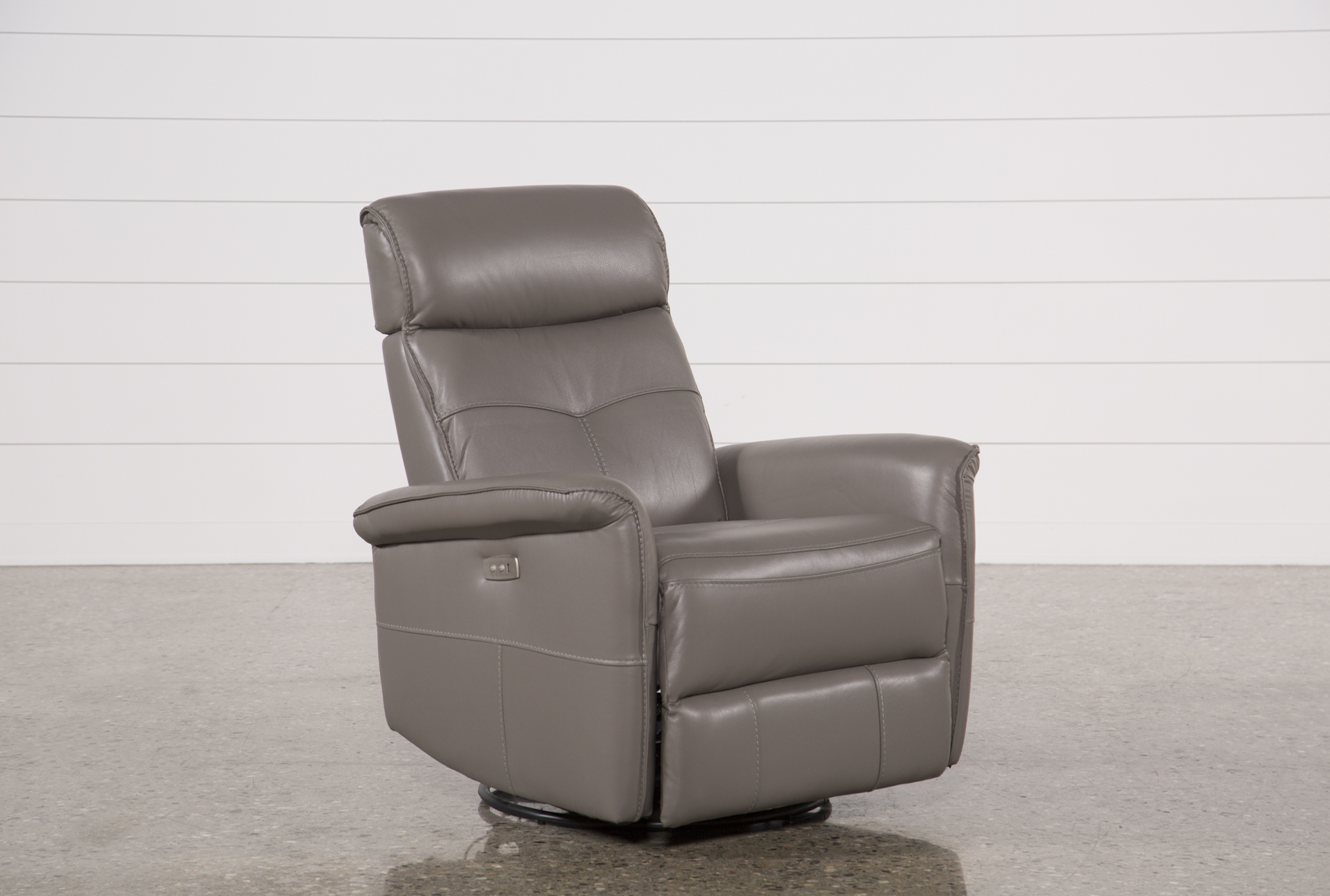 Display Product Reviews For LACEY GREY LEATHER POWER SWIVEL GLIDER RECLINER  W/ ADJUSTABLE HEADREST