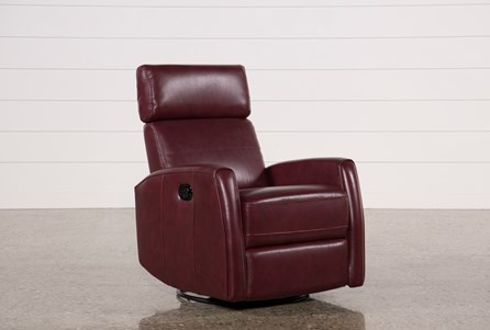 Lola Chile Leather Swivel Glider Recliner W/ Adjustable Headrest