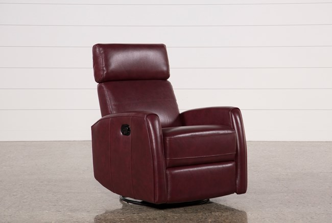 Lola Chile Leather Swivel Glider Recliner W/ Adjustable Headrest - 360