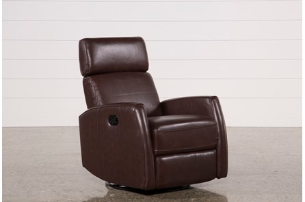 Lola Walnut Leather Swivel Glider Recliner W/ Adjustable Headrest - Main