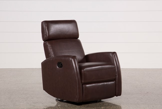 Lola Walnut Leather Swivel Glider Recliner W/ Adjustable Headrest - 360