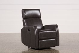Lola Grey Leather Swivel Glider Recliner W/ Adjustable Headrest
