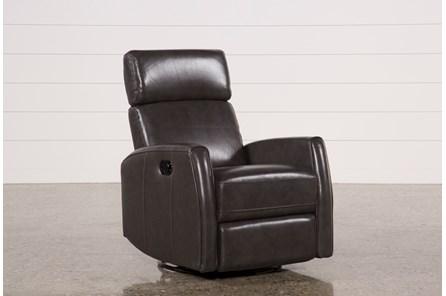 Lola Grey Leather Swivel Glider Recliner W/ Adjustable Headrest - Main