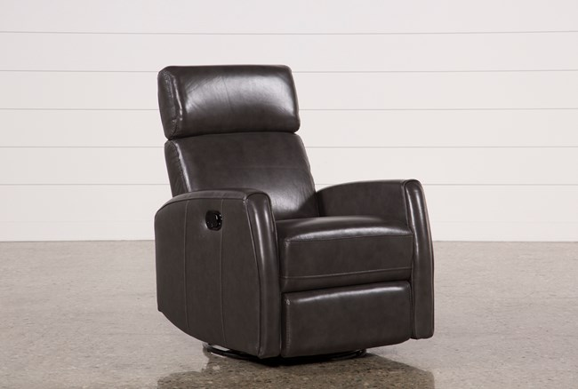 Lola Grey Leather Swivel Glider Recliner W/ Adjustable Headrest - 360