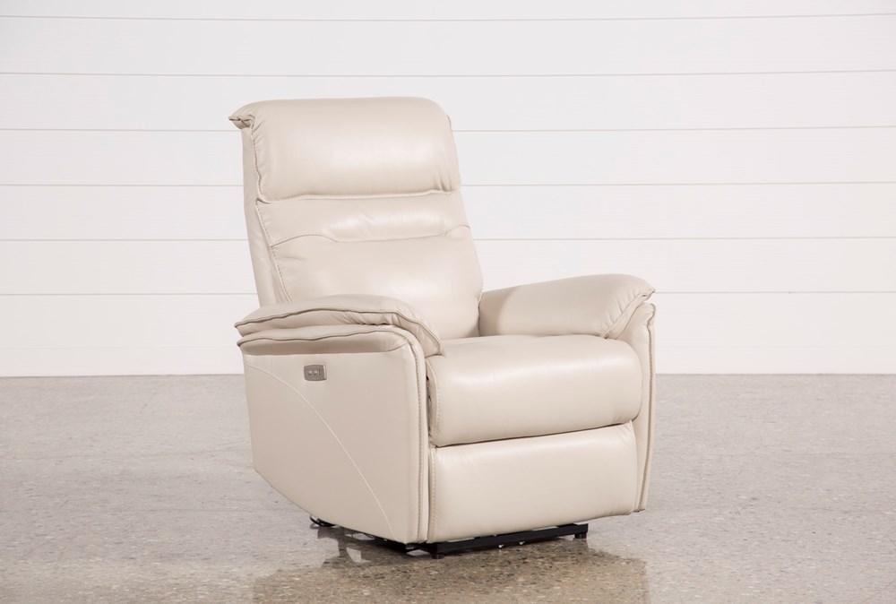 Laird Cream Leather Power Wallaway Recliner W/ Adjustable Headrest