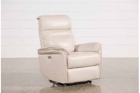 Laird Cream Leather Power Wallaway Recliner W/ Adjustable Headrest - Main