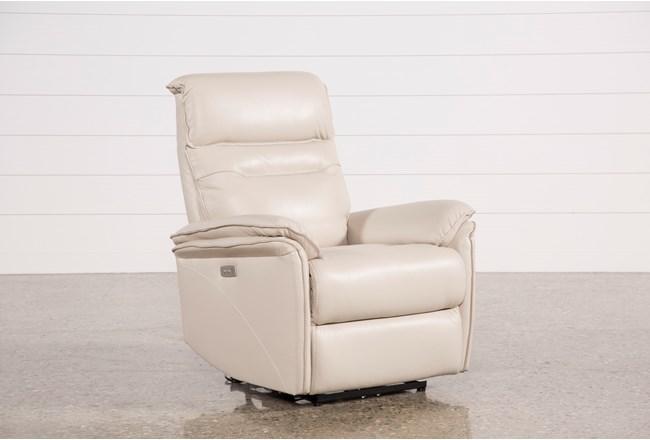 Laird Cream Leather Power Wallaway Recliner W/ Adjustable Headrest - 360