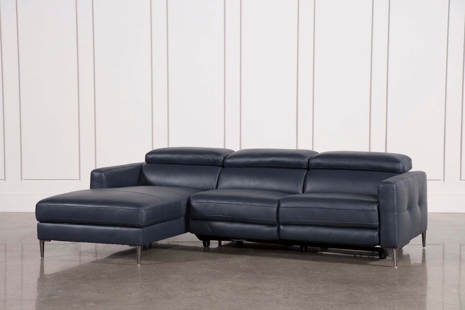 Tara Blue 2 Piece Left Facing Chaise Sofa   Living Spaces