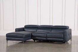 Tara Blue 2 Piece Left Facing Chaise Sofa