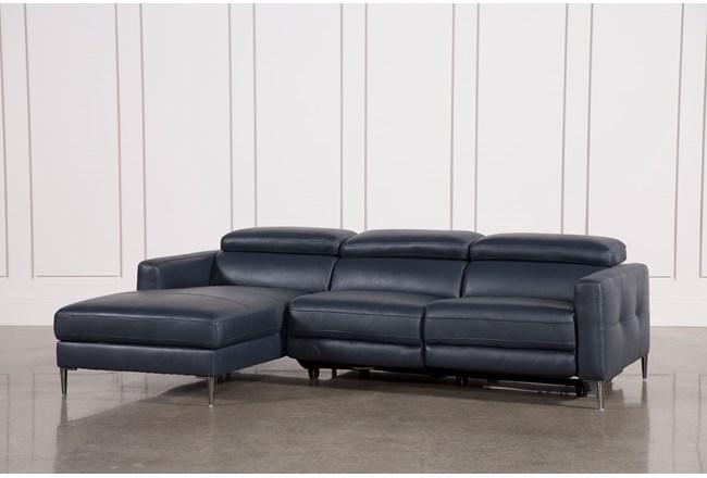 Tara Blue 2 Piece Left Facing Chaise Sofa 360