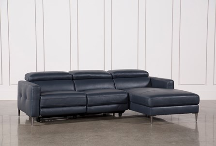 Tara Blue 2 Piece Right Facing Chaise Sofa