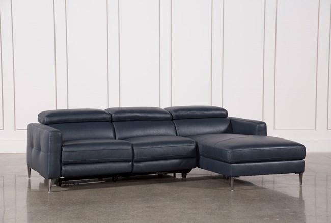 Tara Blue 2 Piece Right Facing Chaise Sofa - 360