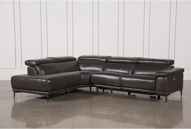 "Tatum Dark Grey 2 Piece 116"" Sectional With Left Arm Facing Armless Chaise - 360"