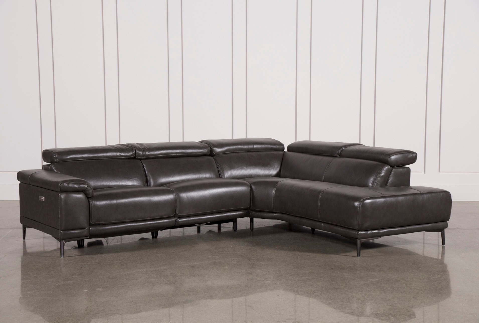Tatum Dark Grey 2 Piece Sectional W Raf Chaise Living Spaces ~ Heather Grey Sectional Sofa