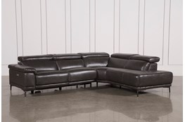 "Tatum Dark Grey 2 Piece 116"" Sectional With Right Arm Facing Armless Chaise"