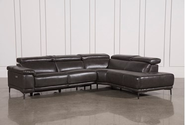"""Tatum Dark Grey 2 Piece 116"""" Sectional With Right Arm Facing Armless Chaise"""