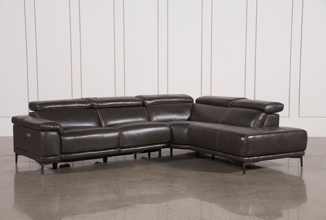 """Tatum Dark Grey 2 Piece 116"""" Sectional With Right Arm Facing Armless Chaise - 360"""