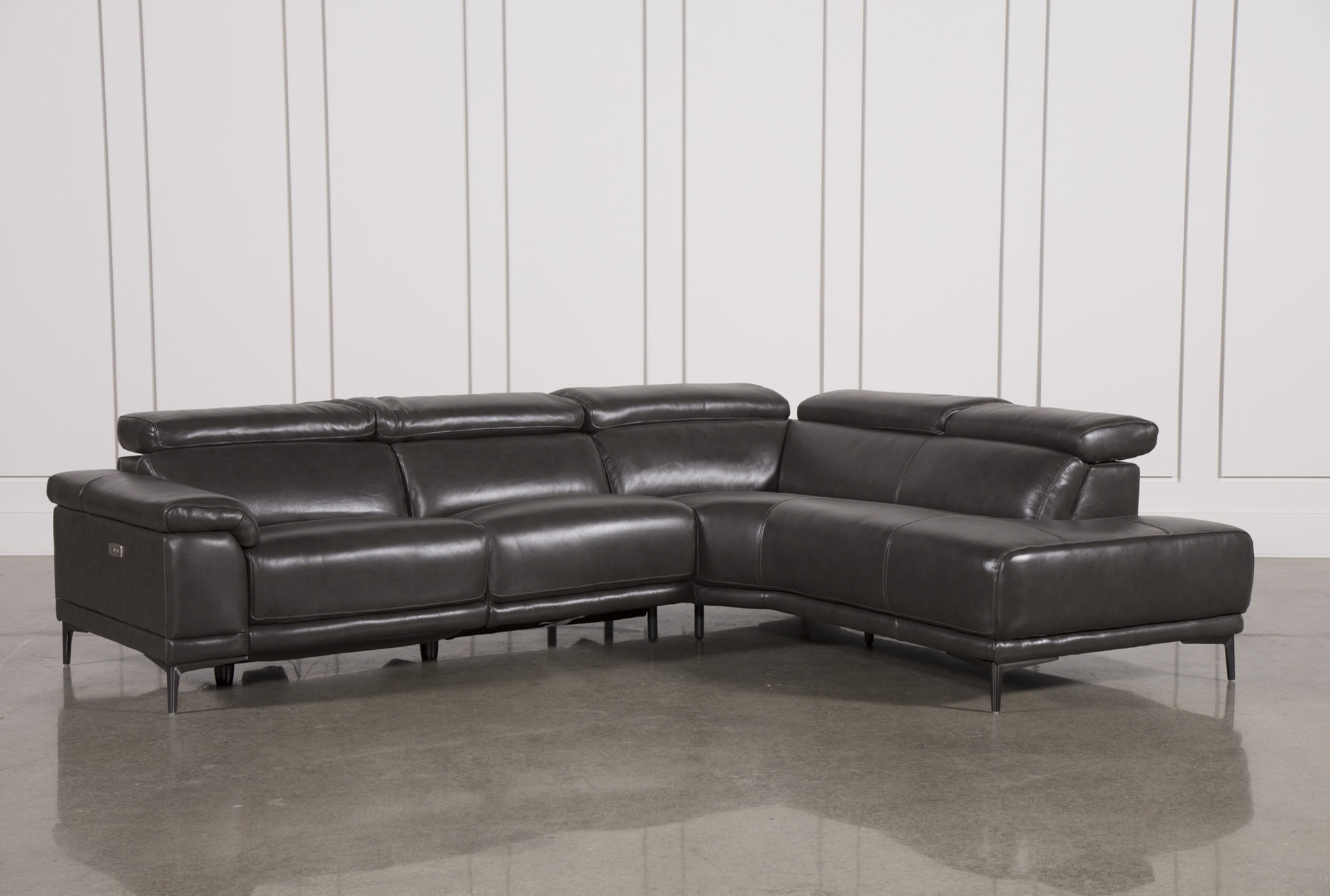 Tatum Dark Grey 2 Piece Sectional With Right Arm Facing Armless Chaise   360