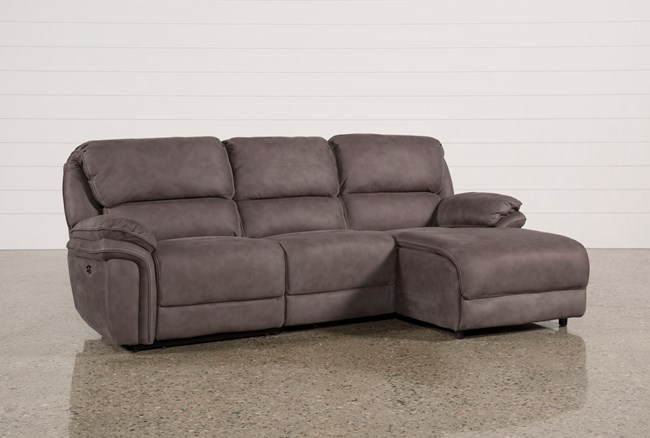 Norfolk Grey 3 Piece Sectional W/Raf Chaise - 360