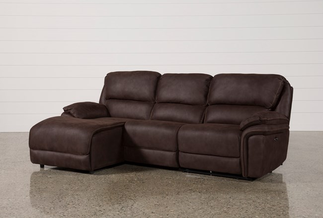 Norfolk Chocolate 3 Piece Sectional W/Laf Chaise - 360