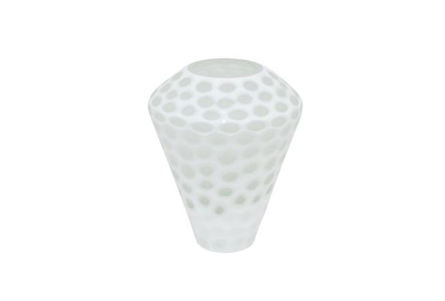 10 Inch White Smoke Glass Dot Vase Living Spaces