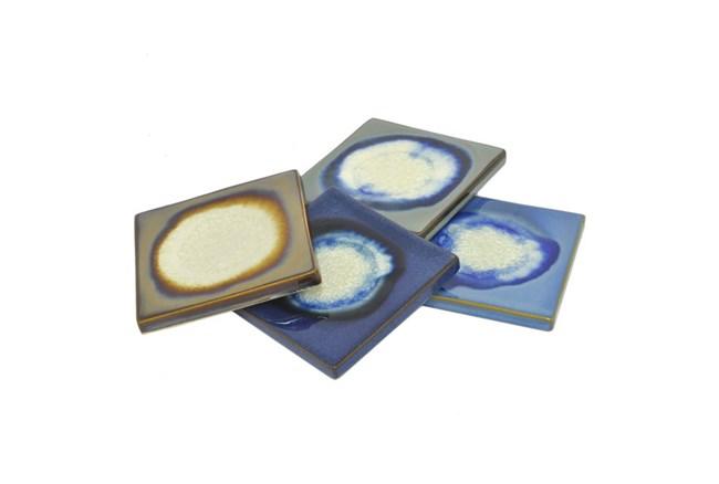 4 Piece Set Assorted Multicolor Ceramic Coaster - 360