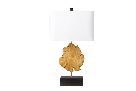 Table Lamp-Gold Wood Slice