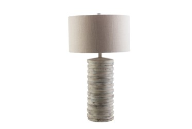 Table Lamp-Grey Wash Ribbed Column