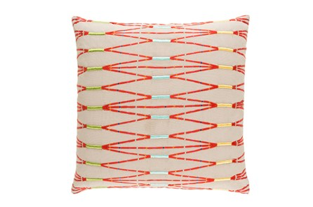 Accent Pillow- Beige Multi Zig Zag 18X18 - Main