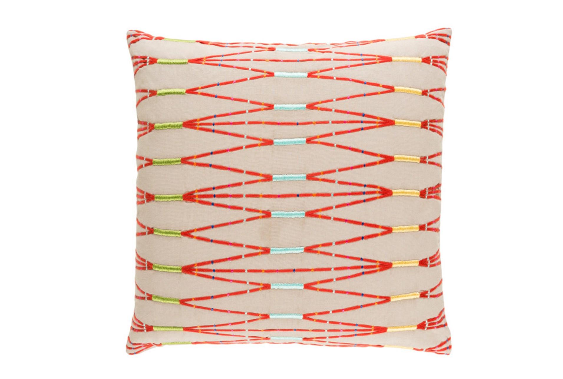 Accent Pillow Beige Multi Zig Zag 22x22 Living Spaces