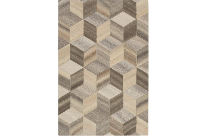 60X90 Rug-Geo Woven Natural Wool - 360