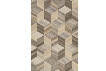 96X120 Rug-Geo Woven Natural Wool